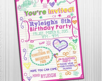 Printable 5x7 Sleepover Tween Birthday Invitations - Tween Girls Invitations - Birthday Invitations