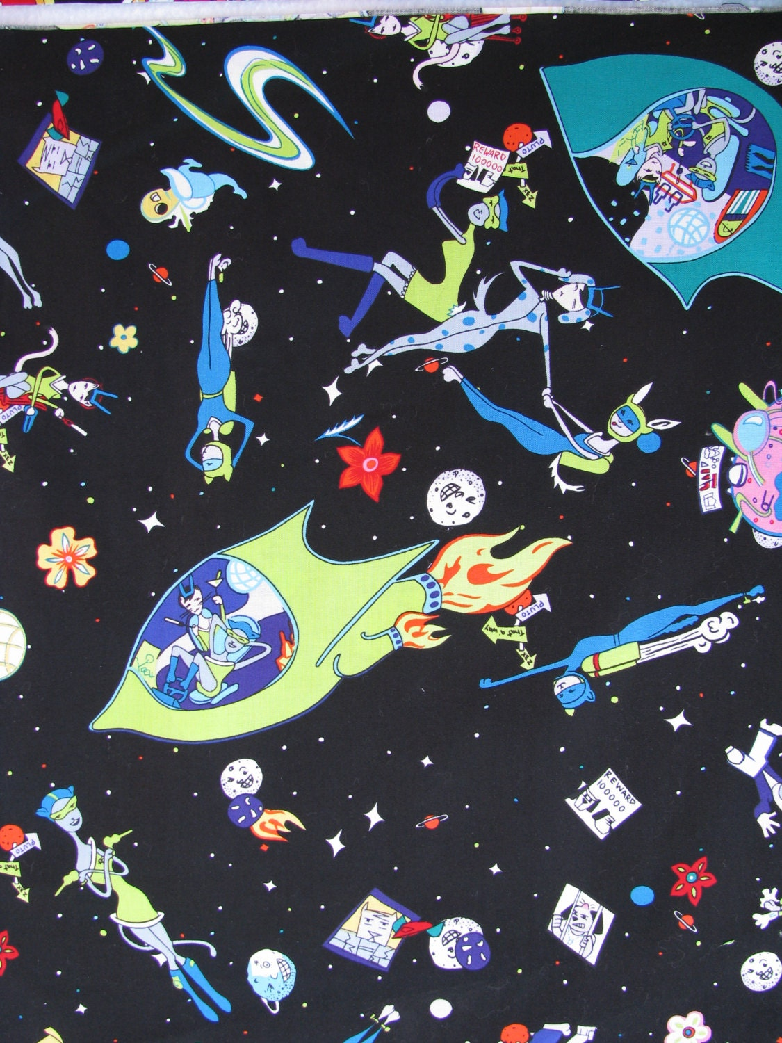 Sale space cats rare another day in space cotton fabric 1 for Outer space fabric by the yard
