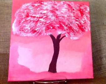 "Original 10 x 10 Acrylic Painting - ""All in Pink"""