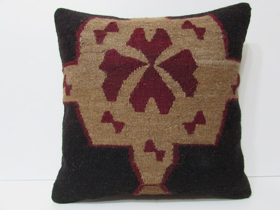 24x24 HAND WOVEN Floral Pillow Black By DECOLICKILIMPILLOWS