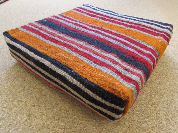Orange Floor Pillows : HAND WOVEN orange floor pillow cover red pouf cushions black