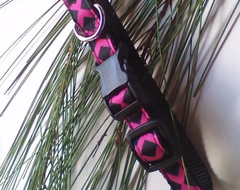 "Dog Collar,Hot Pink And Black,Lattice Design,Girl,5/8"" Handmade Dog Collar #PL118"