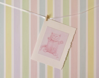 5x7 Baby Greeting Card Handmade from color pencil drawing - Pink card for baby - Plush Cat drawing - Nrusery wall art
