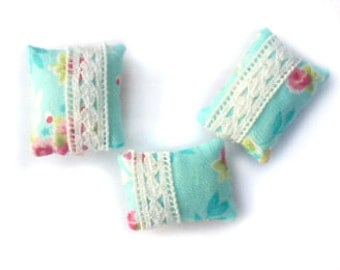 1:12 Set of 3 Miniature soft blue pastel and lace dollhouse pillows
