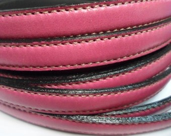 Pre Cuts, No Joins, 10mm Flat leather cord, Fuchsia Double Stitched, flat leather bracelet finding, jewelry supplies