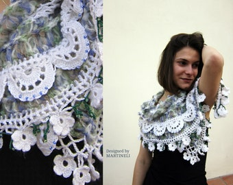 Bohemian Wear Shawl, Freeform Crochet, Shrug Bolero, Scarf Poncho,White Shawl Wrap