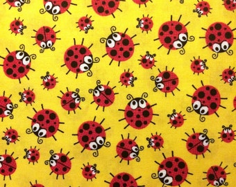 Ladybug Cotton Fabric! [Choose Your Cut Size]