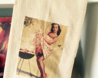 Bbq pinup girl floursack tea towel