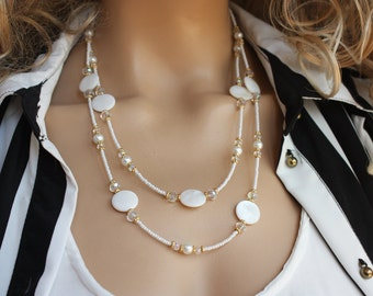 Mother Of Pearl Summer Necklace, White Wedding Necklace