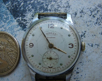 Vintage Soviet USSR era men Mechanical wrist Wrist WATCH POBEDA Mchz 2 Slava / Vintage russian men's watch 1950's / old collectible watch /