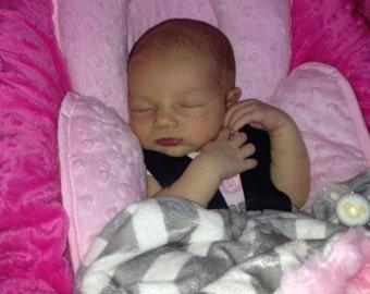 Grey Chevron minky and baby pink minky rose