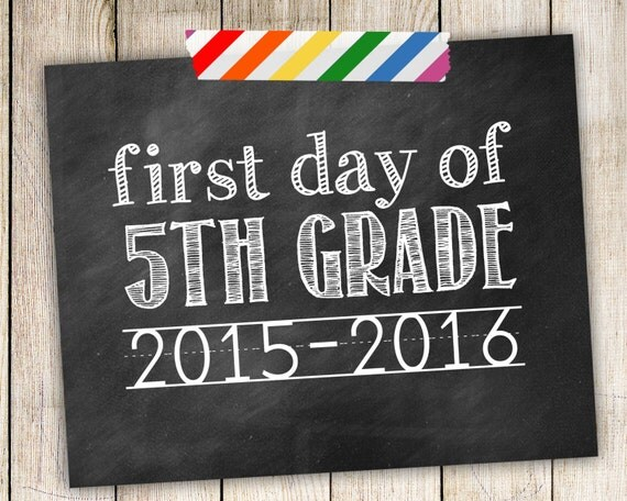Items similar to First Day of 5th Grade 2015-2016 Photo ...