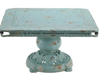 Square Metal Cake Stand/ Plate  Footed Cake Stand     Simply Beautiful