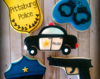 Police Officer Detective Law Enforcement Crime Scene Birthday Custom Decorated Sugar Cookies