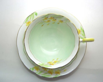 Royal Grafton Tea Cup and Saucer, Mint Green Tea Cup and Saucer with Hand Painted Flowers,  Fine English Bone China.