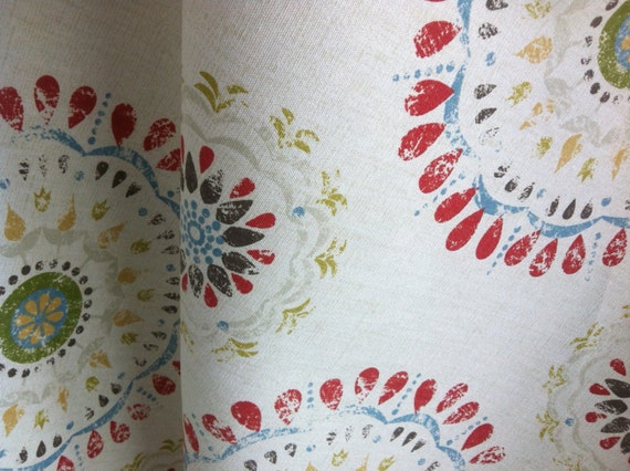 One Yard Robert Allen Color Wheel Coral Suzani Red Medallion Bohemian Style Aqua Home Decor Fabric By The Yard Ztgu From Pillomatic On Etsy Studio