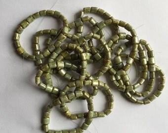Czech Glass Green and Brown Barrel Beads