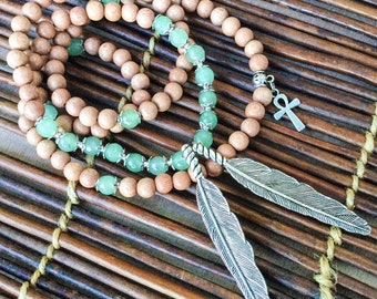 108 Mala Beads   Rosewood & Green Aventurine Feathers   Mala Necklace, Tribal Native American, Yoga Meditation Prayer Beads Rosary