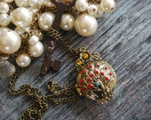 Solid Perfume Peacock Locket Necklace- Antique Style Brass - Aromatherapy Necklace - Solid Perfume - Essential Oil Solid Perfume