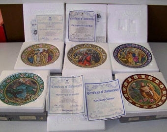 Wedgwood The Knights of the Round Table Set Of 5 King Arthur Bradex Plates