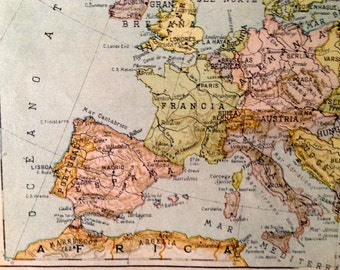 Antique spanish political map of Europe - 1939