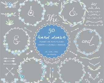 50 Hand Drawn Forget Me Not Flower Digital Clip Art - Wedding Flower - Floral Clip Art - Wreath - Chalkboard Wedding - Rustic Flower-Laurels