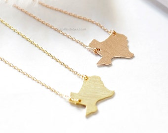 Texas State Necklace in rose gold , TX state necklace, rose gold state necklace, simple bar necklace, necklace for women
