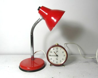 Small mid century, desk lamp, task light, red lamp, red metal, French vintage lighting, task lamp, office lamp, mid century lighting..