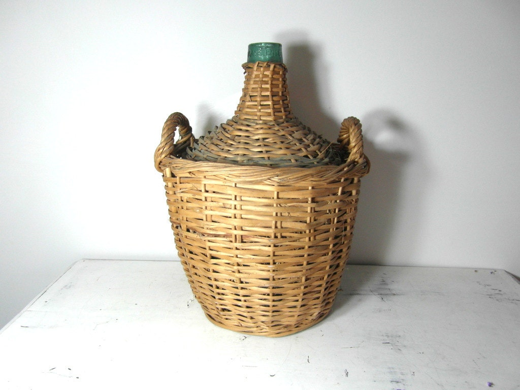 Very large wicker demijohn carboy bottle french vintage for Country francese arredamento