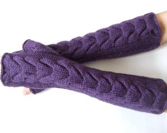 Knitted of ALPACA and WOOL.Soft and warm handmade deep PURPLE fingerless gloves, wrist warmers, fingerless mittens. Pure wool. Cable gloves.