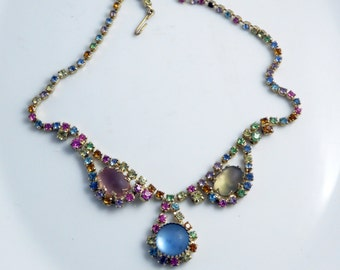 Juliana Style Soft Pastel Rhinestone Necklace