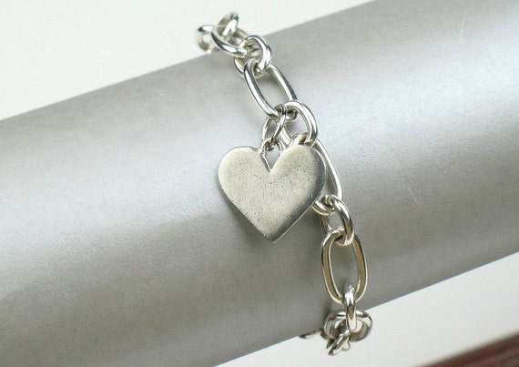Charm Bracelet in Silver with Pewter and Sterling Silver Heart Charms and Chunky Chain / Romantic Gift / Gift For Her