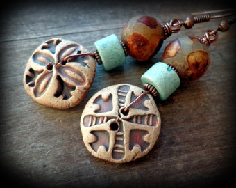 stoneware ceramic and pottery, rustic button earrings, country girl jewelry, bohemian motif, women's summer fashion, wearable art jewelry