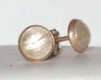 Delicate simple rutilated quartz gemstone earrings - bezel earrings - stud earrings -  vermeil -  vintage Silver - Bridal