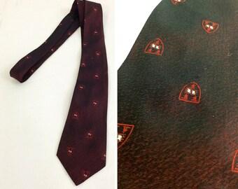 Vintage Dark Red Crest Motif Silk Tie