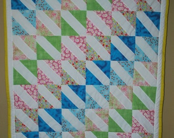 Floral Prints of Pinks, Greens and Blues Modern Baby Quilt