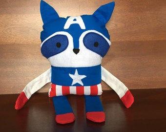 Captain America Stuffed Raccoon - Plushie - Avengers