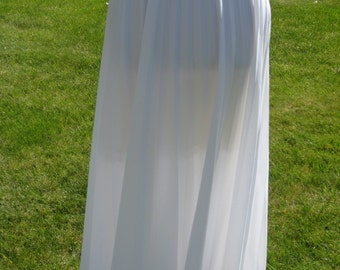 1970s-80s Womens Polyester White Accordion Pleated Maxi Skirt Size L