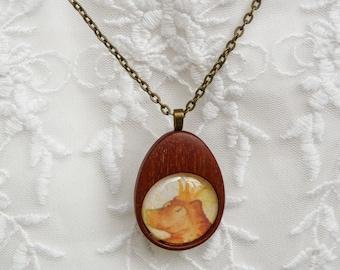 Pendant - wooden mahogany pendant necklace - crown bear