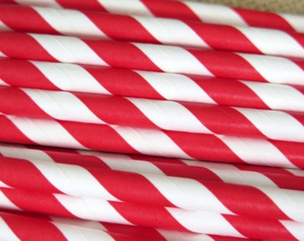 Cherry Red and White Striped Paper Straws, 25 Count, Party Supplies for Birthdays, Weddings, Bridal Shower, Baby Shower, Hazals Bazaar
