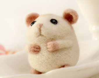 White Fat Hamster,  Felt Wool Animal, Felting Kit Material DIY