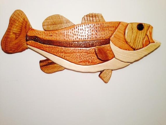 Cottage Home Decor Bass Custom Fish Wood By Bassprointarsia