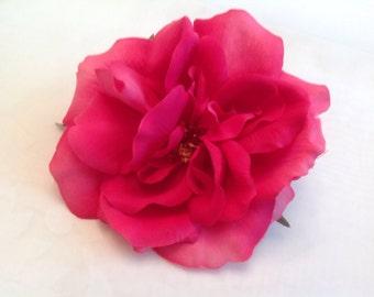 Pink Rose Bridal Flower Hair Pin Wedding Hair Accessory Fuchsia Rose Hair Pin Rose Bridal Hair Pin Pink Fuchsia Rose Prom Hair Pin - Large