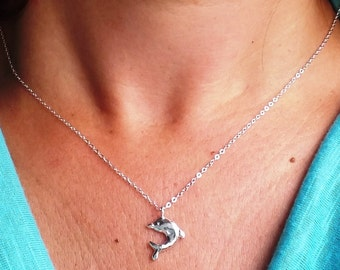 Silver Dolphin Pendant ,Sterling Silver 925 Pendant ,Handmade Silver Pendant ,Dolphin Jewelry ,Girls Silver Pendant ,Children Silver Jewelry