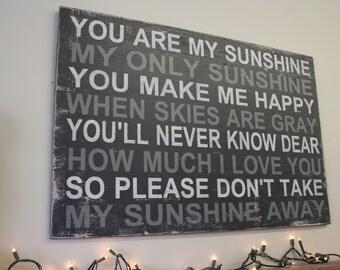 You Are My Sunshine My Only Sunshine Nursery Sign Above Crib Sign Distressed Nursery Wood Sign Shabby Chic Nursery Vintage Nursery Gray