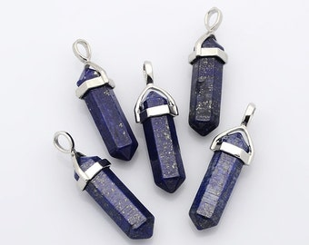 Lapis Faceted Pendant Point 14 x 34mm Silver Plated Pendant