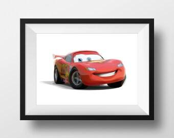Digital Download Cars 2 Lightning Mcqueen Grand Prix Poster Art Nursery Print, Disney Pixar Cars 2 Nursery Art Boys Room - 8x10 or 11x14.