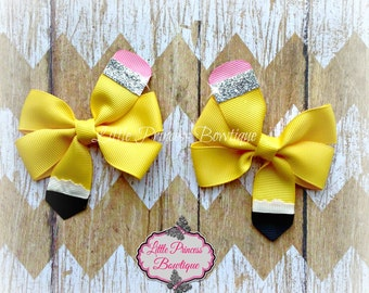 Back to School Hair Bows, Back to School Bows, Pencil Bow, Pencil Hair Bow, Pinwheel Hair Bow
