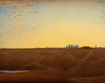 "William Turner of Oxford : ""Stonehenge - Twilight"" (c1840) - Giclee Fine Art Print"