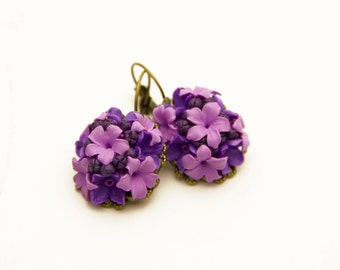 Floral Earrings, purple pink polymer clay flower, Jewelry, vintage accessories, earrings with flowers, ornament for the ears